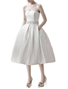 Emmani Women's Strapless Short Satin Bridal Wedding Dresses Bribe Vintage >>> Read more reviews of the product by visiting the link on the image. (This is an affiliate link and I receive a commission for the sales)
