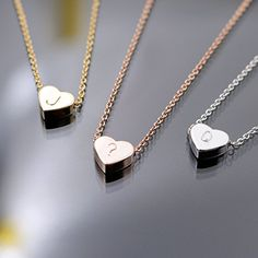 SALE PRICE $17.98 - A Tiny Heart Initial Necklace - 16K Gold or Silver -Plated Dainty Hand stamped Delicate Initial Charms Personalized Heart Necklace Bridesmaid or Wedding Gift