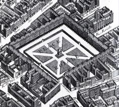 """""""Turgot's 1739 map of Paris' Place Vosges"""" The Place Royale, with its matching red-brick facades and vaulted arcades, was the model for future residential squares in Paris and other European cities. Meant to be a quiet and dignified place, then on the outskirts of Paris, for the well-to-do to live, it is still one of the most elegant spots in the city. Cafes look out on a tree-shaded square where in summer people lounge on park benches and picnickers play games on the grass."""