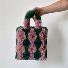Wiggles Tufted Bag | Knitey Knitey Carpet Bag, Weaving Textiles, Punch Needle, Paper Dolls, Purses And Bags, Knit Crochet, Crochet Patterns, Crafty, Embroidery