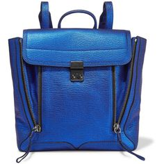 3.1 Phillip Lim - Pashli Convertible Metallic Textured-leather... ($448) ❤ liked on Polyvore featuring bags, backpacks, royal blue, expandable bag, blue bag, patterned backpacks, 3.1 phillip lim and zip bag