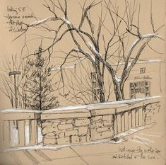 Outdoor Sketch, Hall of Waters, Tree, Bridge, Snow [I need to draw more.]