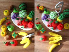 〜自分で作るフェルト製おもちゃ〜くだもの(フェルトままごとブック)フェルト製、果物のレシピと型紙です。 写真の全ての小物を、解説しています。 分かりやすい、身近な果物を選びました。※フルーツスタンドと…