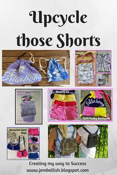Shorts Upcycling - lots of projects, ideas and inspiration for upcycling those shorts you no longer wear! by Creating my way to Success Diy Shorts, Sport Shorts, Sewing Hacks, Sewing Tutorials, Clothing Items, Upcycled Clothing, J Jeans, Make Do And Mend