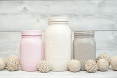 Cottage Chic Decor, Mason Jar Wedding Centerpieces, Baby Shower Decor, Kitchen Canister Storage Organizing, Rustic Home Decor Pink and Tan by KAStylesMasonJars on Etsy https://www.etsy.com/listing/177824881/cottage-chic-decor-mason-jar-wedding