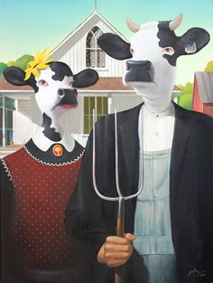 Cow Gothic / Giclee Limited Edition Release (large!) Print on Canvas 16 x 20 by HistoryAndMystery, $120.00