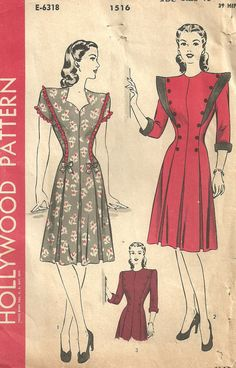 Hollywood 1516 Vintage 40s Sewing Pattern Dress by studioGpatterns, $14.50