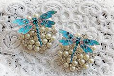 New Item Listing~Reneabouquets Teal Jewelry Dragonfly Set  Scrapbook Embellishment, Tag, Card, Mini Album, Wedding, Dragonflies