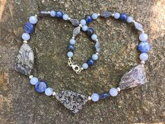 Asymmetrical Agate Wedge Necklace Beaded with Kyanite, Chalcedony, Angelite, Picasso Jasper and Sterling Beads with Sterling Finishings