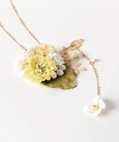 m.soeur(エムスール)の「スミレとしろつめ草のネックレス*(ネックレス)」 詳細画像