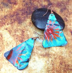 Crumpled Copper Enamel Triangle Earrings by ChristensenStudio, $30.00