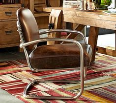 """Archer Leather & Metal Desk Chair #potterybarn  $800  Leather is full aniline dyed, top-grain with a lightly distressed finish for an antique look.  Details  Overall: 22.5"""" wide x 28"""" deep x 35"""" high  Seat: 20"""" wide x 18"""" deep x 21"""" high  Arm Length From Back: 20.5""""  Arm Height Above Floor: 24.5""""  Distance Between Legs: 20.5""""  Weight: 33 pounds"""