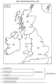 Carte à compléter et à colorier du Royaume-Uni, de l'Angleterre et de l'Irlande…
