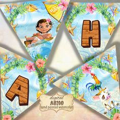 This set of 16 unique Moana bunting decorations is carefully hand drawn(all inspired by the original animation) and design by me, perfect for your Moana themed birthday party .. These designs are digital files, no printed materials will be shipped. Just download file and you can print at home as much as you want!!  Item details: 8 High Res 300dpi jpg file, A4 size (8.5 x 11 inch). all in 1 ZIP File, you will need WinZip or WinRar to decompress.. Each printable sheet contains 2 buntings Each…