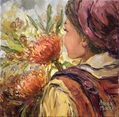 South African artist Aviva Maree portfolio website of her acrylic and oil paintings. Protea Art, South African Artists, Acrylic Painting Techniques, Flower Market, Fabric Painting, Female Art, Drawings, People, Figurative