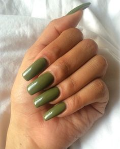 ♡ On Pinterest @ kitkatlovekesha ♡ ♡ Pin: Beauty ~ Long Army Green Nails ♡