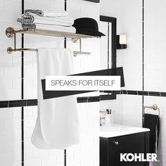 kohler_indiaThe Artifacts towel holder gives this modern bathroom an elegant touch . Kohler Faucet, Bathroom Essentials, Towel Holder, Modern Bathroom, Wardrobe Rack, Sink, Delicate, India, Posts
