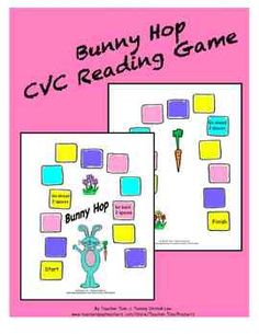 Game board and cvc word cards to read and move around the board. Adaptable for letter id, beginning or ending sounds, etc.
