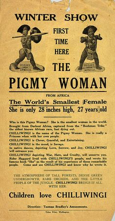 The Pigmy woman from Africa. The world's smallest female 28 inches tall by National Library NZ on The Commons, via Flickr