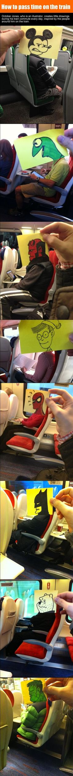 Illustrator, October Jones Made Funny Doodles During His Train Commute Everyday. Funny Cute, The Funny, Super Funny, October Jones, October 19, Memes Gratis, Funny Jokes, Hilarious, Humor Grafico