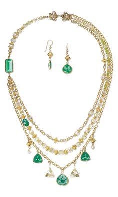 Jewelry Design - Triple-Stand Necklace and Earring Set with Green Onyx and Gold-Finished Sterling Silver Drops, Swarovski Crystal and 14Kt Gold-Filled Chain - Fire Mountain Gems and Beads