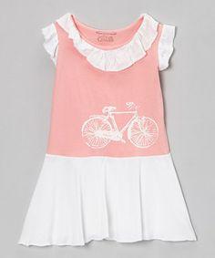 Retro Pink Vintage Bicycle Ruffle Dress - Toddler & Girls by Team Chipmunk #zulily #zulilyfinds
