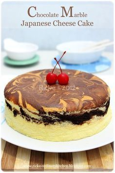 Just My Ordinary Kitchen Japanese Chocolate Cheese Cake Marble Kue Lezat Makanan Kue Tulban