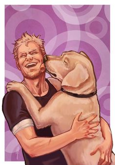 Hawkeye gets Lucky doggie hello fanart by nimloth87