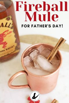 Make a Cinnamon Whisky Mule cocktail! This fiery twist on the classic Moscow Mule recipe uses lime, ginger beer and Fireball Whisky for bold cinnamon kick! Easy Cocktails, Cocktail Recipes, Cinnamon Whiskey, Mule Recipe, Whisky Bar, Ginger Beer, Few Ingredients, Fresh Lime Juice, Moscow Mule