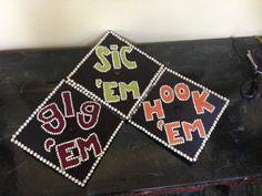 Our best friend graduation caps. Texas A, Baylor, and UT! #graduationcaps #DIY #graduation