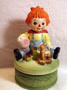 Raggedy Ann Andy Wooden Horse Doll Vintage Revolvng MUSIC BOX Sankyo Japan MOM99