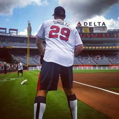 Smoltz warms up for the 2013 Braves Legends Softball Game.