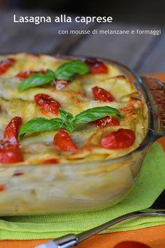 lasagna alla caprese con mousse di melanzane e formaggi