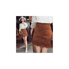 Laser Cut A-Line Faux Suede Skirt ($27) ❤ liked on Polyvore featuring skirts, women, laser cut skirt, a line skirt, knee length a line skirt, brown skirt and faux suede skirt