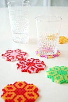 diy hama beads ideas perler coasters - strijkkralen ideeen inspiratie onderzetters maken kralen volwassenen