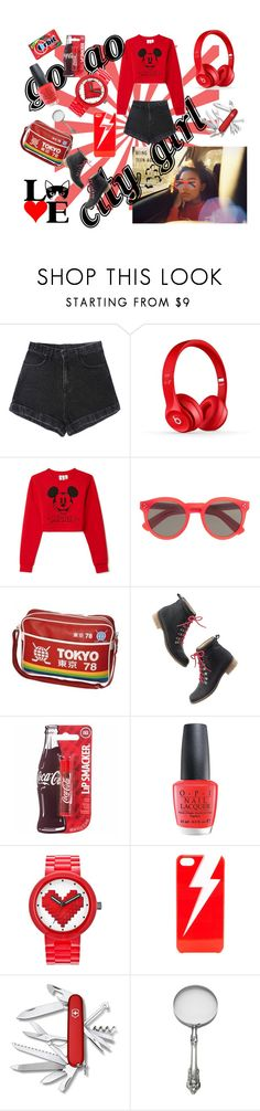 """Lady in red"" by matthewsnuku on Polyvore featuring Forever 21, Illesteva, Madewell, OPI, Lego, ban.do and Victorinox Swiss Army"