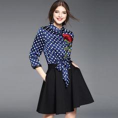 Moda casual mini dress primavera verão feminino 2017 3/4 manga patchwork azul sólida saia preta rosa vermelha bordado bow dress