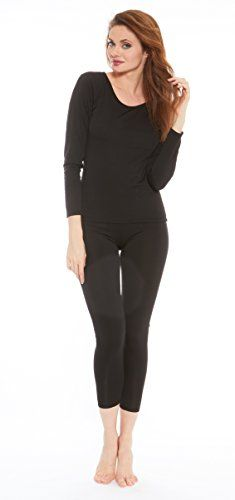Ruthy's Apparel Women's Fleece Lined Thermal Underwear Set Top and Bottom (XX-large, Black) >>> Want additional info? Click on the image.