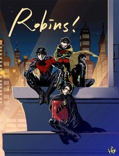 Dick Grayson 1st Robin now Nightwing, Jason Todd 2nd Robin now Red Hood, 3rd Robin Timothy Drake now Red Robin, Damian Wayne 5th Robin