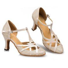 TDA Womens Mid Heel PU Leather Salsa Tango Ballroom Latin Party Dance... (