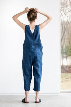 Washed and soft linen jumpsuit. As mostly all of our items in the shop the jumpsuit is of rather loose fit, so if you want more fitted look, you