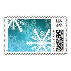White Teal Stripe Snowflakes Postage Stamp