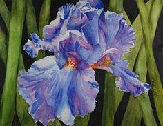 Happy Mother's Day Iris, 8 x 10 watercolor, floral - Original Fine Art for Sale - � by Donna Pierce-Clark