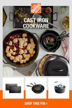 With so many options, you're sure to find a cast-iron gadget to suit any of your culinary needs. From stovetop to grill, cook up the perfect ingredients to enjoy all summer long and years to come. Shop cast iron cookware online at The Home Depot. Dutch Oven Camping, Backyard Cookout, Grill Accessories, Cast Iron Cookware, Barbecue Grill, Outdoor Cooking, Grills, Rustic Kitchen, Food Preparation