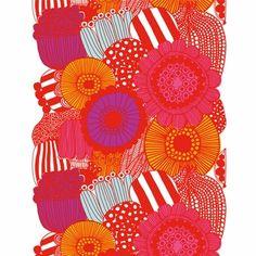 Marimekko Siirtolapuutarha Red Fabric Repeat. Flat out fantastic print.