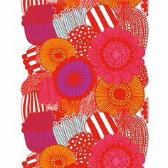 Fabulous designer Marimekko print fabric - at a great price.  Perfect to stretch over a canvas between your couch and AC unit, to detract from it.  Works well with cushions, other artwork and orange and white chevron rug in dining area.  Love it!!! Only need about 1 metre as it's 1.4 metre width.  So about $69.  Bargain!