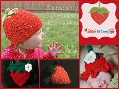 Free crochet patterns inspired by strawberries. You'll love this delicious collection of projects!