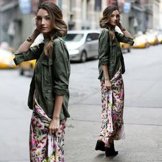 Militar + Floral #streetfashion #moda #styling #stealthelook #look #looks #ootd #shopthelook #compreolook #roubeolook #stealherlook #stelherstyle #stealthestyle #fashionblog #fashionblogs #blogger #bloggers
