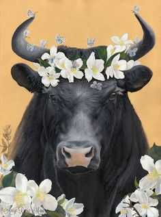 Ferdinand the Bull (and his flowers) - 8x10+ - Watercolor Illustration, childrens book art, childrens wall art, animal nursery print