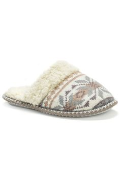 muk luks - Ladies' Fairisle Knit Scuff in Winter White